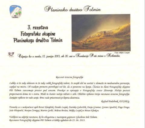 3. razstava fotofrafske skupine Planinskega društva Tolmin