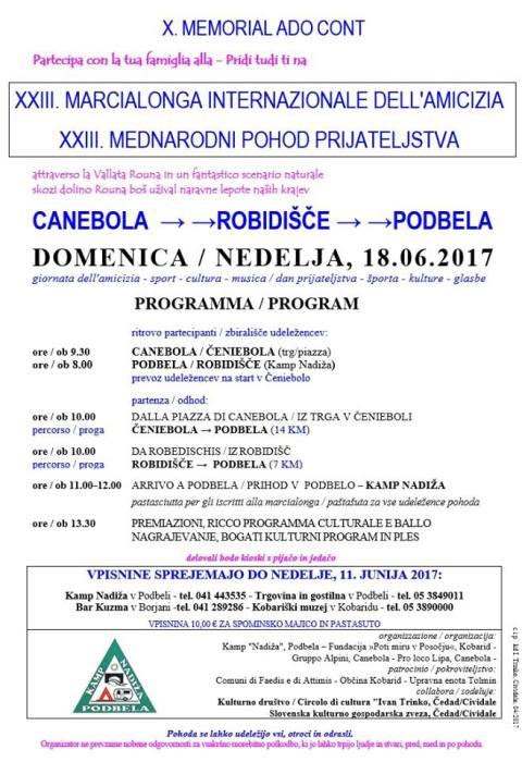 23. mednarodni pohod prijateljstva, Čeniebola-Robidišče-Podbela